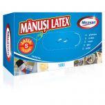 Manusi unica folosinta latex Misavan, pudrate, marime S, 100buc/set